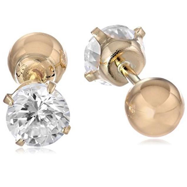 Reversible Cubic Zirconia/Gold Tone Ball Stud Earrings