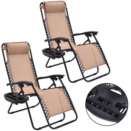 Costway 2PC Zero Gravity Folding Recliner Lounge Chairs
