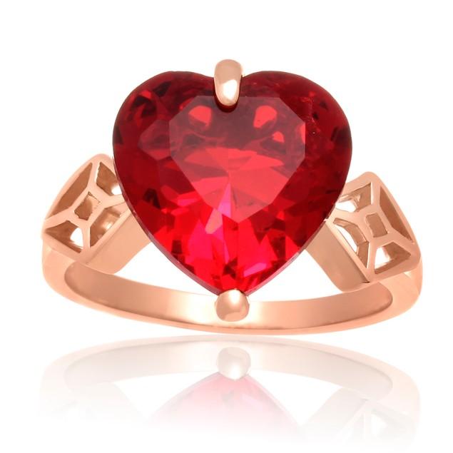 7 Carat Crystal Ruby Heart Ring In 18 Karat Rose Gold Overlay