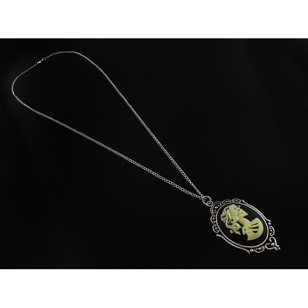 Victorian Skeleton Cameo Necklace With Silver Tone Pendant Necklaces