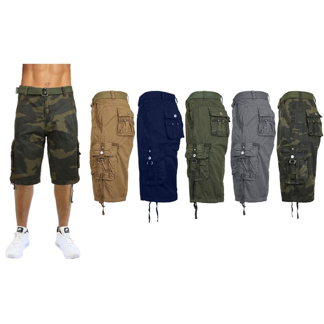 Men's Distressed Tactical Vintage Belted Cargo Utility Shorts
