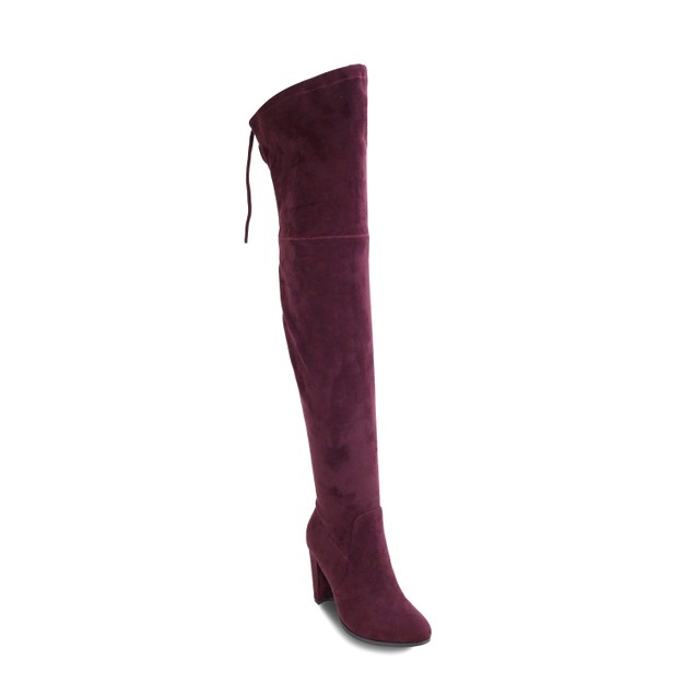 Olivia Miller 'Roosevelt' Top Back Lace Heel Thigh High Boots