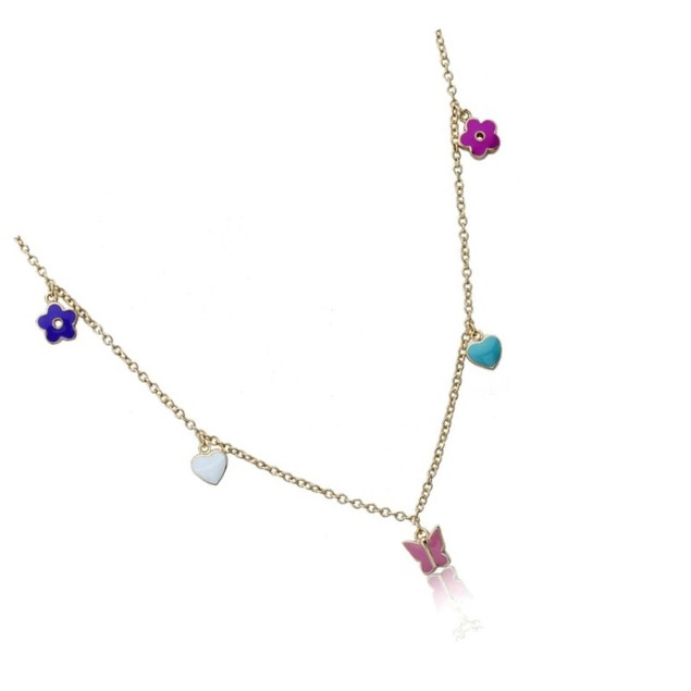 "18KGP Multi Colored Enameled Hearts, Butterflies, & Daisies Children's Necklace-(14"" + 2"" Extention)"