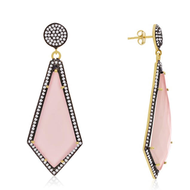 14k Yellow Gold 45ct Rose Quartz and CZ Dangle Earrings