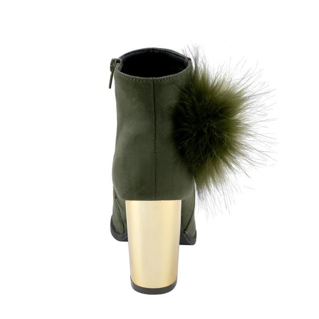 Olivia Miller 'Belmont' Large Fur Pom Chunky Metallic Heel Ankle Booties