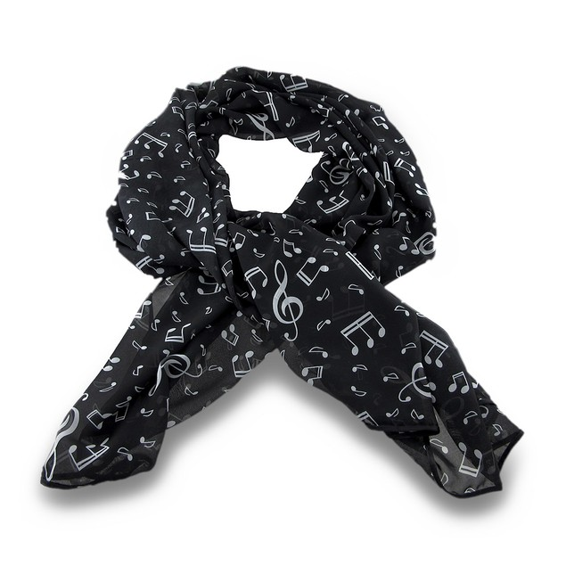 Black And White Music Notes Lightweight Fashion Womens Fashion Scarves
