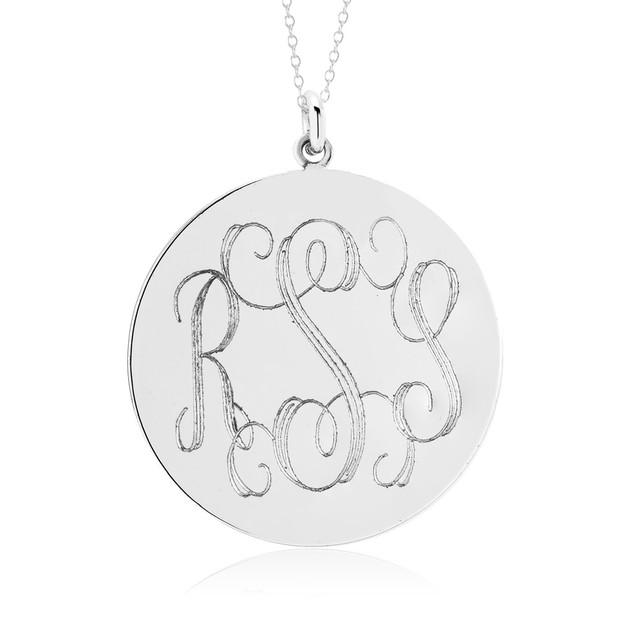 Personalized Monogram Disc Necklace - 3 Colors