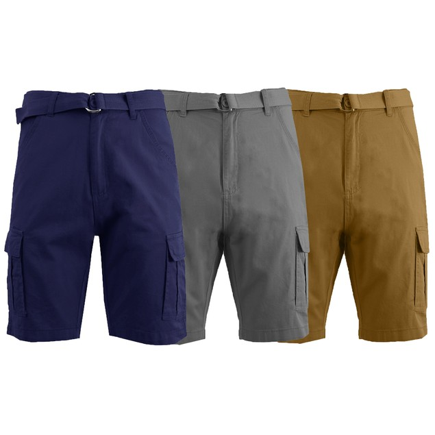 3-Pack Men's Slim Fit Cotton Cargo Shorts With Belt (Sizes, 30-42)