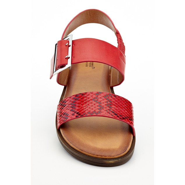 Women's Slip On Comfort-A Sandals With Snake Skin Double Strap