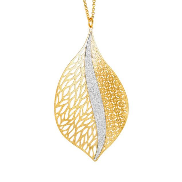 18kt Gold Plated Sterling Silver Glitter Necklace - Leaf