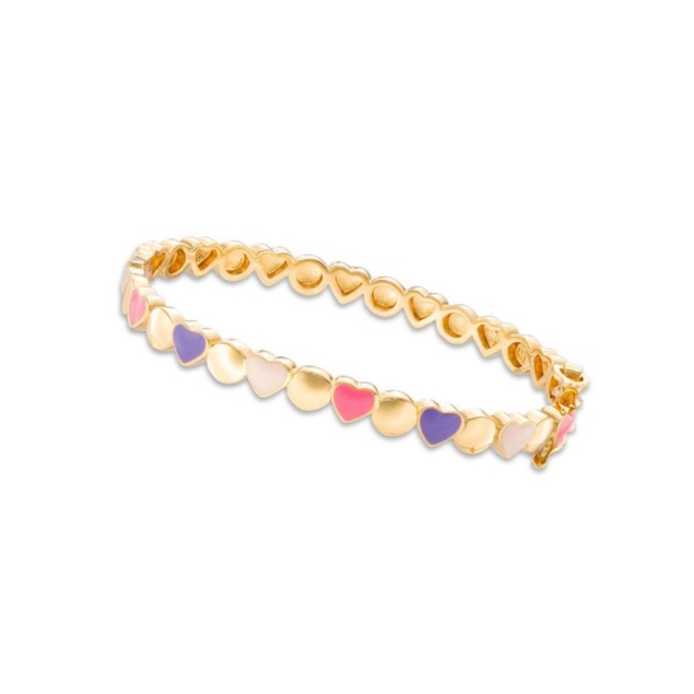 18K Gold Plated Hot-Pink & Purple Enameled Hearts Children's Bangle Bracelets