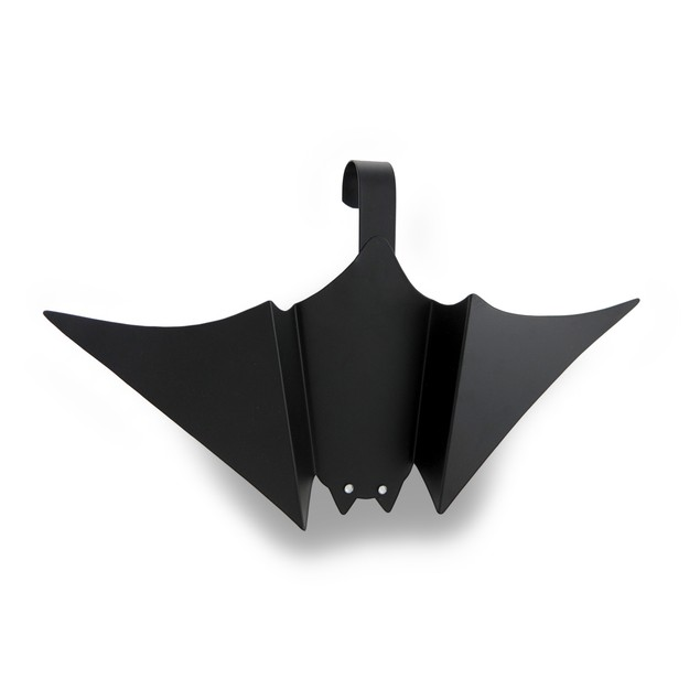 Black Tin Hanging Bat W/Faceted Jewel Eyes Wall Sculptures
