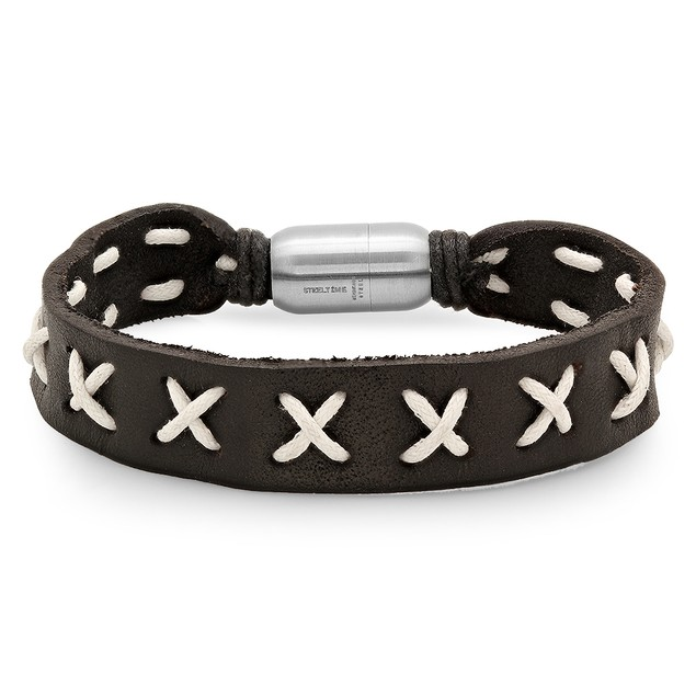 Black Leather Bracelet with white lace