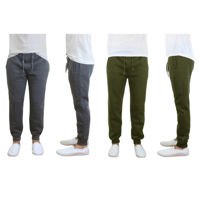 2-Pack Galaxy By Harvic Men's Heavy Fleece Jogger Pants