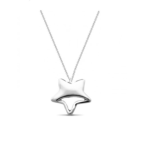 "0.925 Sterling Silver High Polished Plain Star Shape Pendant W/ 18"" Cable Chain Set"