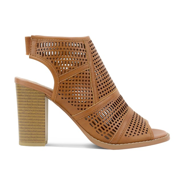 Olivia Miller 'Williamsburg' Open Back Perforated Peep Toe Booties
