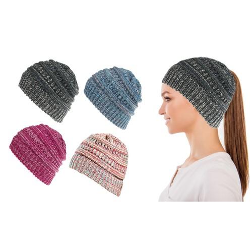 Women Fun Warm Winter Ponytail Beanie Hat Cap
