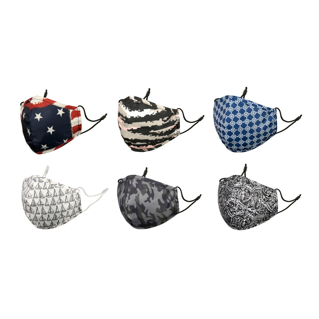 6-Pack Assorted Adjustable Breathable Comfortable Reusable Cotton Masks