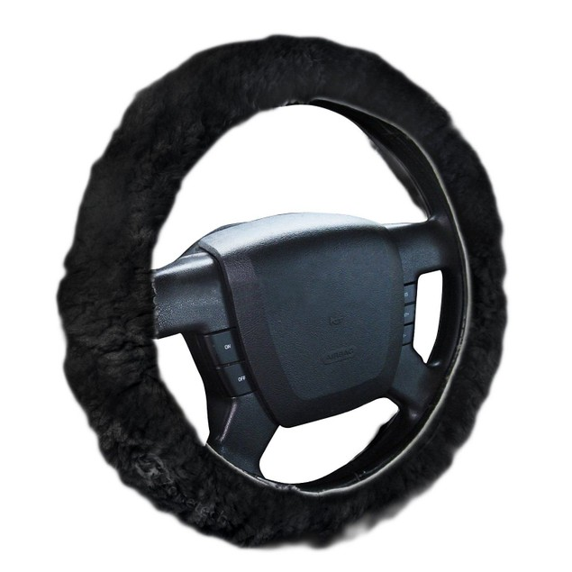 Zone Tech Black Plush Genuine Sheepskin  Car Steering Wheel Cover
