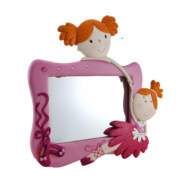 Best Friends Pink Twin Ballerina Decorative Wall Wall Mounted Mirrors