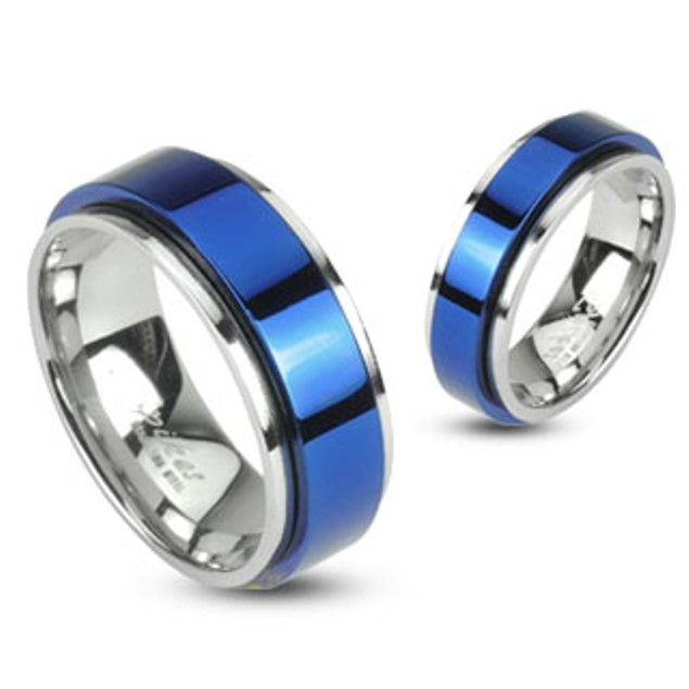 Spinning Center Blue IP 316L Stainless 2 Tone Double Layered Ring