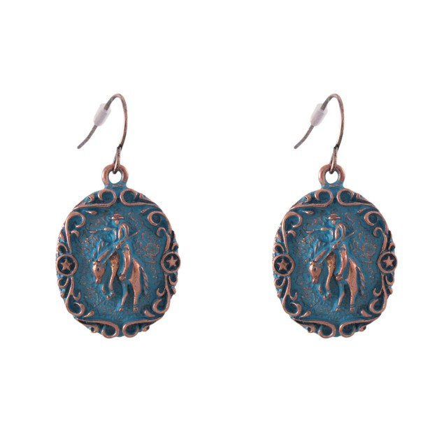 Copper/Turquoise Blue Western Rodeo Bronco Womens Earring And Necklace Sets