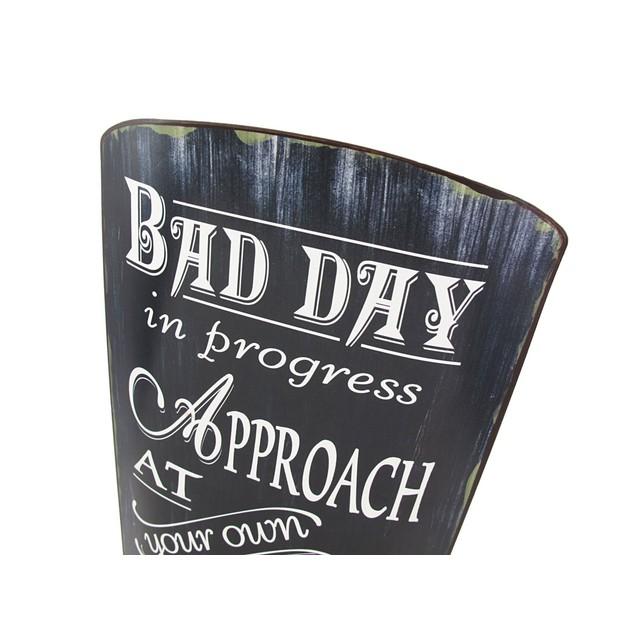 Distressed Finish Retro Bad Day In Progress Metal Yard Signs