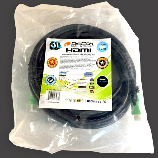 Digicom 12' Gold-Plated 1.4V Certified HDMI Cable