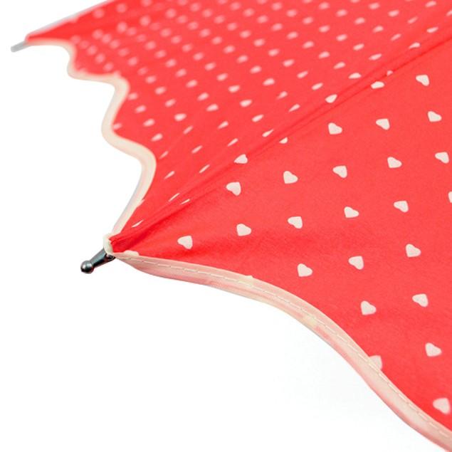 2-Pack Telescopic Canopy Hand Open Umbrella w/Hearts Pattern & Wavy Border