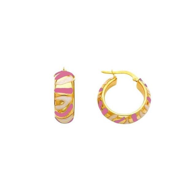 18K Gold Plated Hot Pink Enameled Aztec Swirl Children's Hoop Earrings