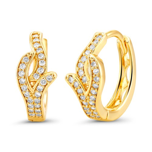 18kt Yellow Fancy Elegant Goldtone Cubic zirconia  Huggie Earrings