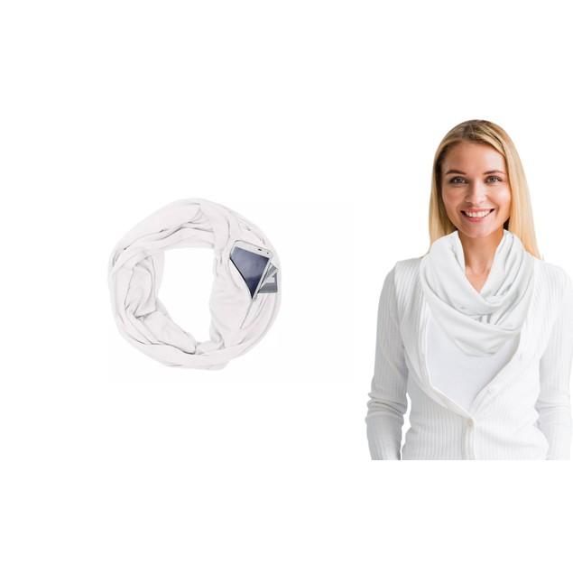 Women Lightweight Infinity Scarf With Pocket Loop Zipper
