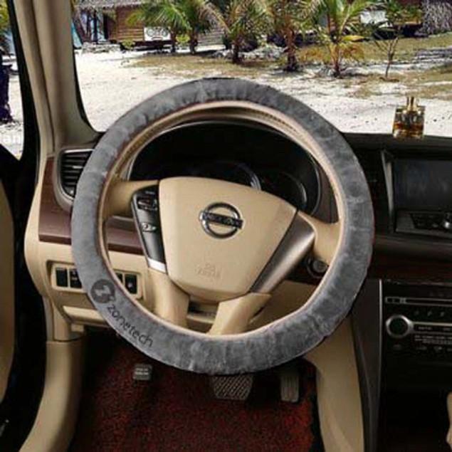 Zone Tech Gray Car Steering Wheel Emergency brake Gear Shift Plush Cover