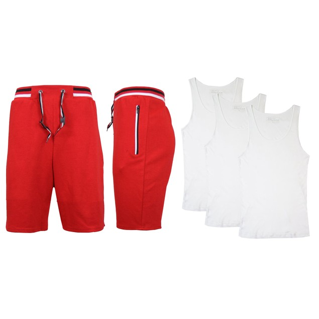 Mens Active Lounge Shorts With 3 Pack White Tank Tops