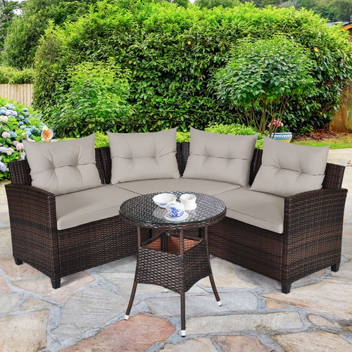 Costway 4PCS C-Shaped Outdoor Rattan Patio Set