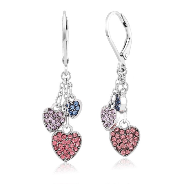 Crystal Drop Heart Earrings