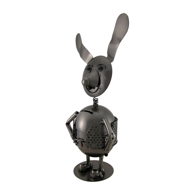Springy Bobble Head Dog Polished Metal Coin Bank Toy Banks