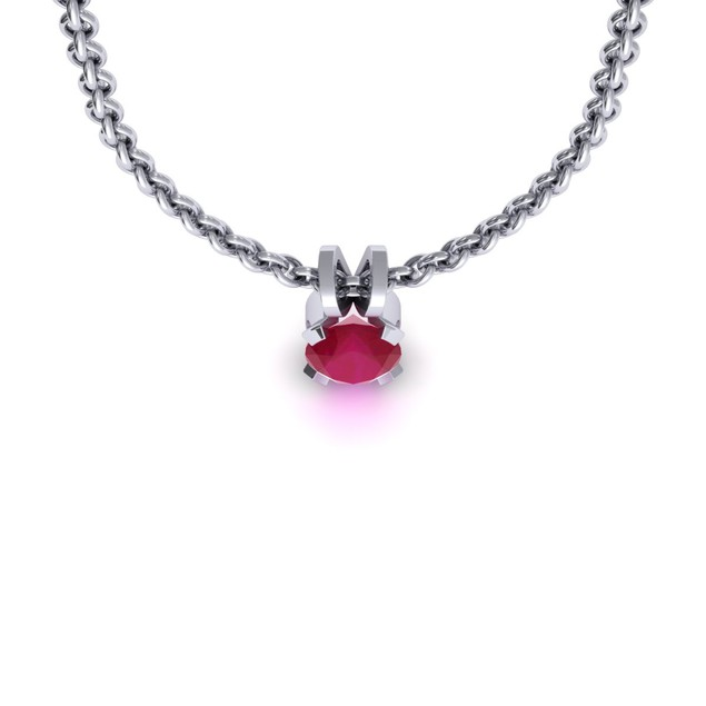 1.65cttw Oval-Cut Ruby Necklace & Earring Set In Sterling Silver