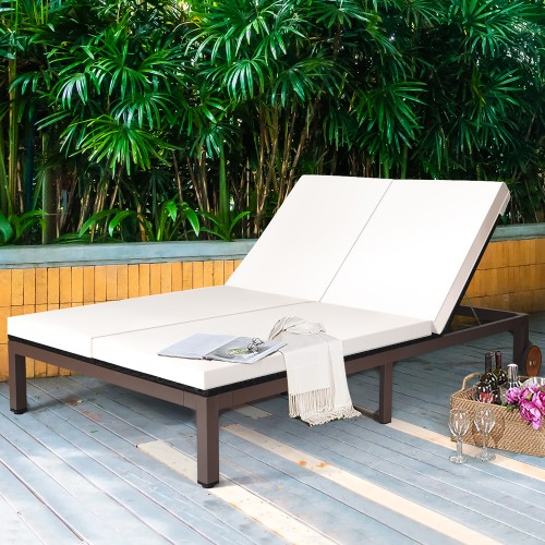 Costway 2-Person Rattan Reclining Chaise Lounge Chair