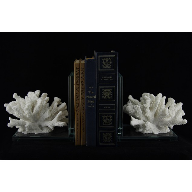2 Pc. White Coral On Glass Coastal Bookend Set Decorative Bookends