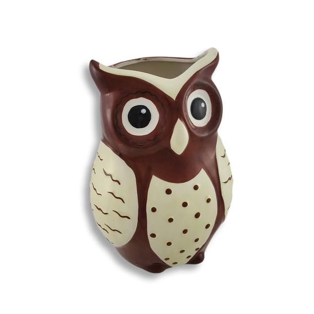 Brown And White Ceramic Owl Vase Decorative Vases