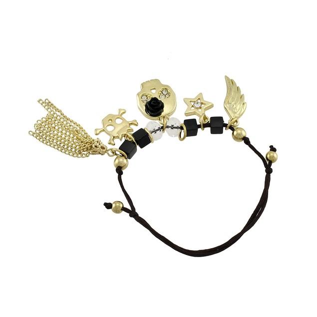 Dainty Slider Cord Bracelet With Gold Tone Skull Womens Cord Bracelets