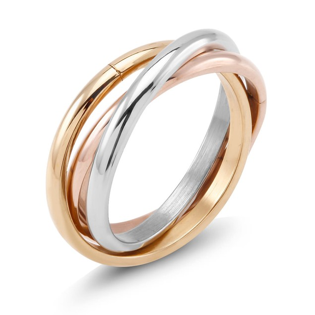 Designer Inspired Tri Color Rolling Ring