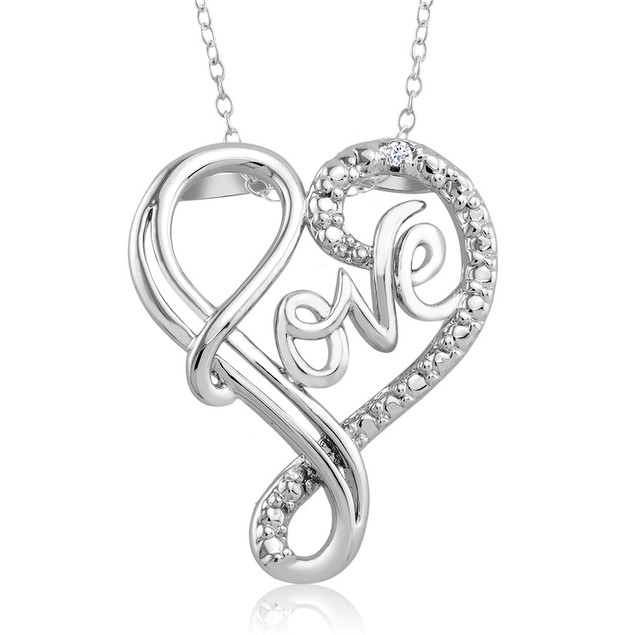 1/10 CTW Diamond Accent Necklace - Fancy Love