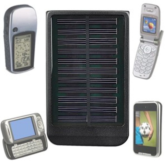 Solar Mobile Charger w/Built-in Battery & 6 Power Tips
