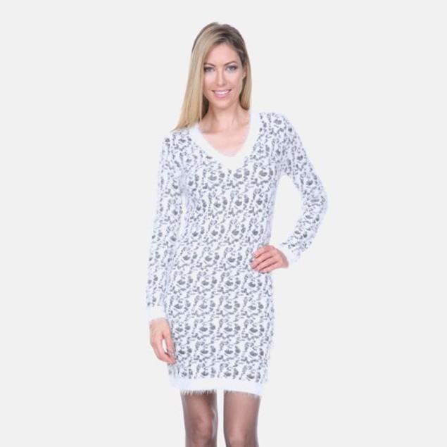 White Mark Grey Leopard Sweater Dress