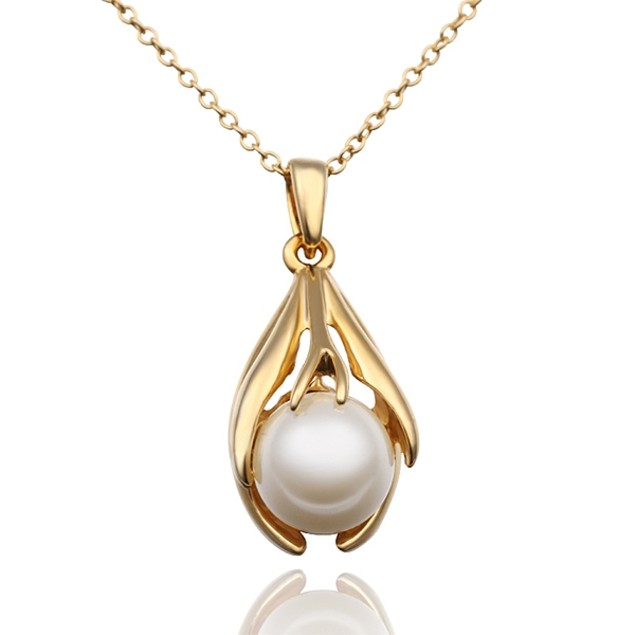 Gold Plated Pearl Fusion Necklace with Austrian Crystal