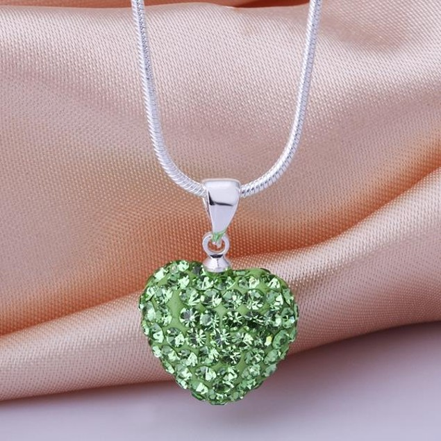 Solid Austrian Stone Crystal Heart Shaped Necklace - Light Green