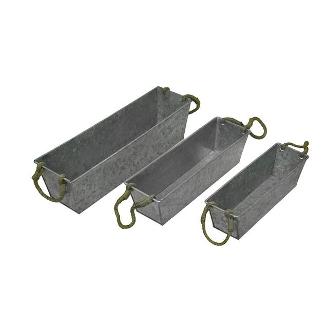 Set Of 3 Galvanized Metal Rectangular Planters Planter Boxes