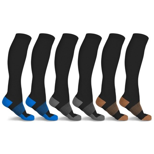 xFit Copper-Infused Knee-High Compression Socks (6-Pairs)